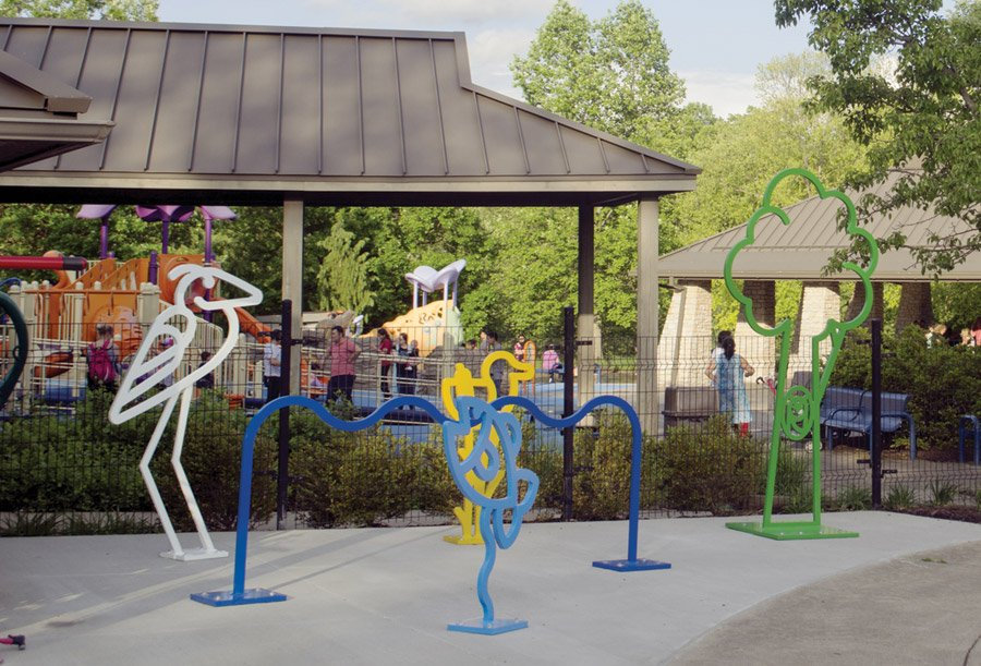 """Ecosystem"" bike racks at Sharonwoods Harbor (Photos by James Billiter)"