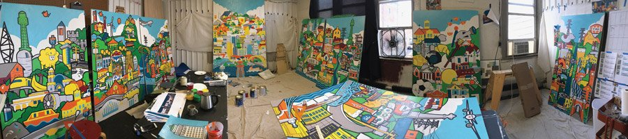 Paintings for Duke Energy installation, Billiter Studio (Photo by James Billiter)