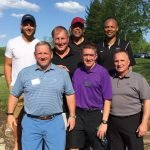 (Back) Bengals tight end Tyler Eifert; Bengals broadcaster Dave Lapham; former Bengals player Anthony Muñoz; and former Xavier University basketball player Byron Larkin; (front) co-chairs Tom Marth and Chuck Ackerman with former Bengals player Jim Breech