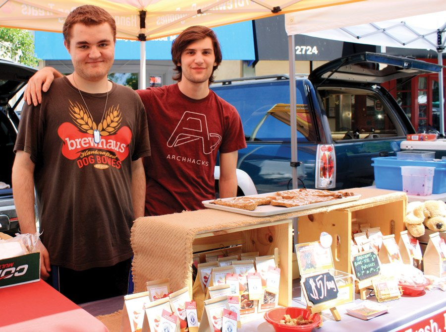 Hyde Park Farmers' Market - Eric Pauly and Matthew Graham represent Brewhaus Dog Bones – small-batch, oven-baked dog treats made of whole grains sourced from Cincinnati and Northern Kentucky microbreweries. Area schools use this nonprofit business model to help their students with disabilities (typically ages 18-22) learn valuable work and life skills.