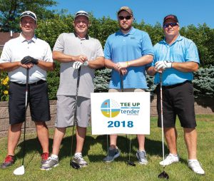 Tender Mercies Golf Scott Hoffman, Blake Hoover, Chad Mehlon and Shannon Scott of First Financial Bank
