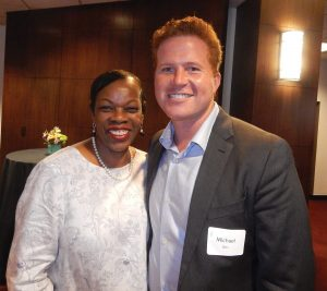 GCF Women of the Year Past honoree Kathy Wade-Jenkins (1997) with Michael Betz, head of marketing and communications for The Enquirer